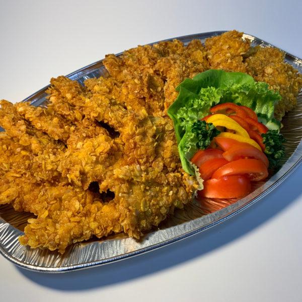Řízková mísa z banketních kuřecích řízečků v cornflakes